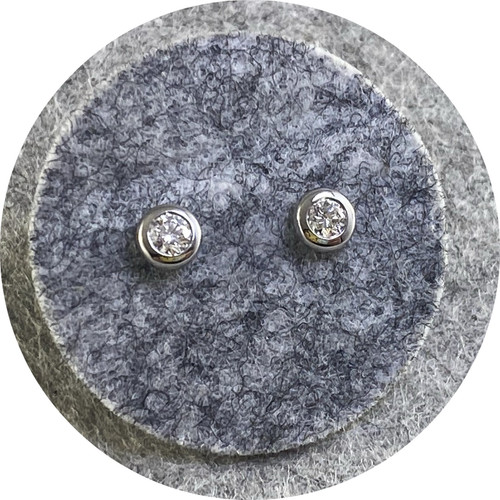KIN - 18ct White Gold Stud Earrings with Round Diamonds