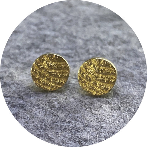 Melanie Joy- Atma Small Sun Studs, Sterling Silver, triple plated with hard 18ct Yellow Gold