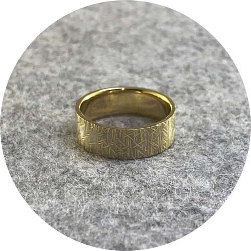 Amelie Atelier - 'Chisel crosshatch ring' sterling silver and yellow gold plating.