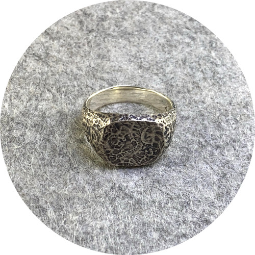 Amelie Atelier - 'Rocky Textured signet ring' sterling silver.