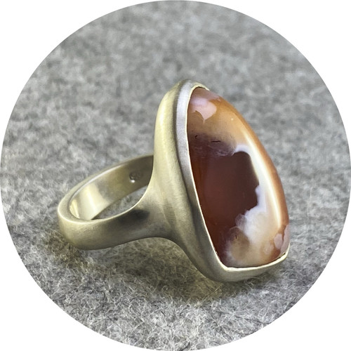 Leonie Simpson - 'Stone Set | Chalcedony Ring' sterling silver.