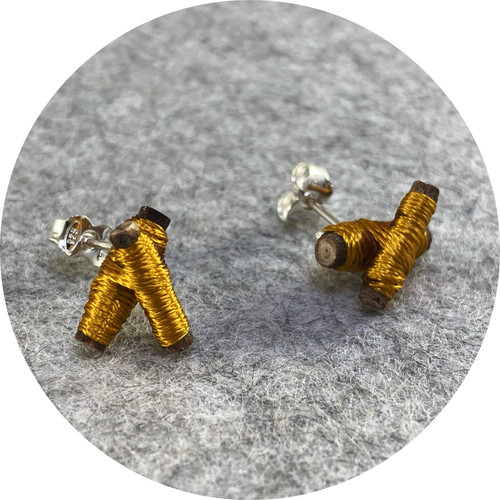 Melissa Gillespie - 'Wrapped Mustard Twig Studs', wood, cotton, silver
