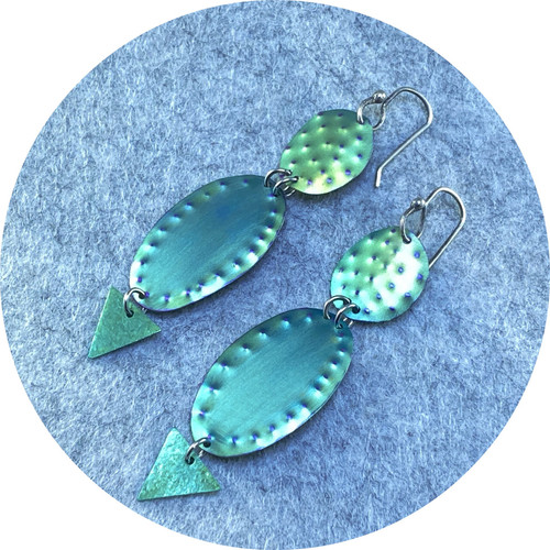 Amanda Croatto - Cactus Plant anodised titanium earrings