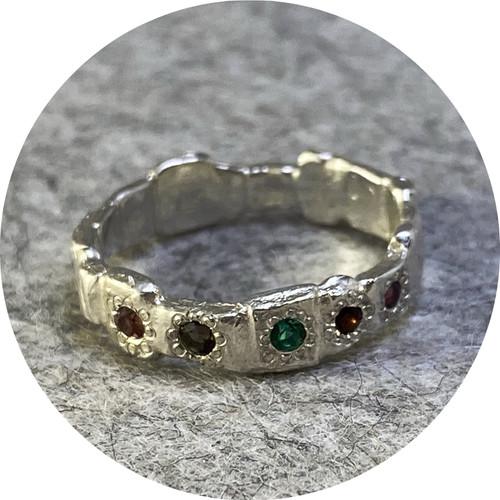 Ada Hodgson - Garden Path Ring with precious gems, sterling silver,  smokey quartz , rhodolite garnet, almandine garnets, hydrothermal emerald