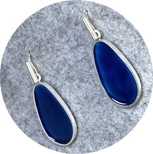 Robyn Clarke - Chroma Contour fine and sterling silver long drops in pthalo blue vitreous enamel