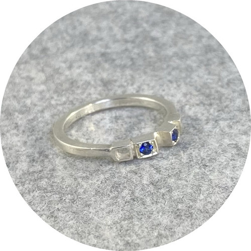 Jin Ah Jo - Sterling Silver Ring with 2 x 2mm Blue Sapphires