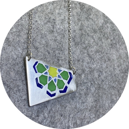 Claire Taylor - Islamic motif enamel pendant, fine and sterling silver,  blue/green/yellow
