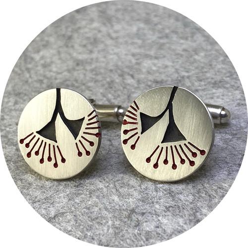 Emma Kidson - Eucalyptus Blossom Cufflinks, sterling silver, red/black enamel