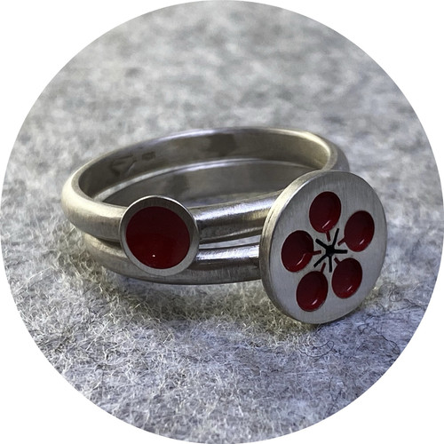 Emma Kidson - Plum Blossom Stacking Rings (pair), sterling silver and cold enamel in red