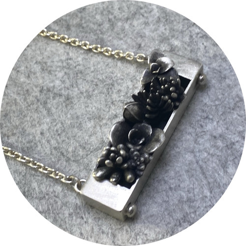 Emma Kidson - Succulent Planter Box Necklace in sterling silver (organic castings)