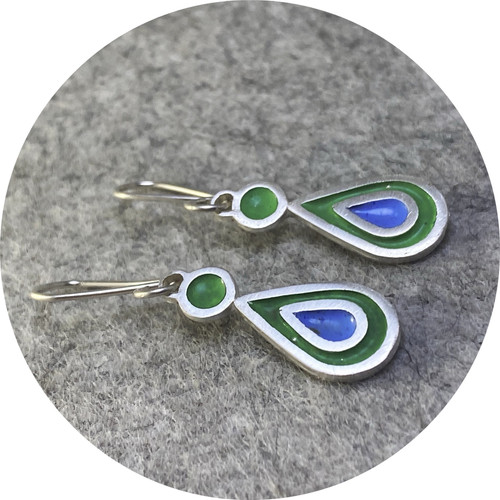 Claire Taylor - Enamel drop earrings, fine and sterling silver, vitreous enamel