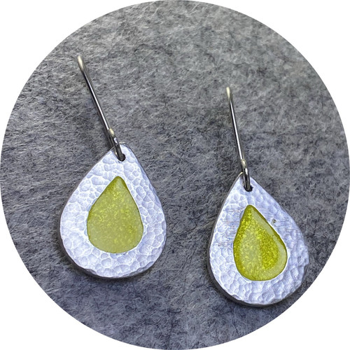 Claire Taylor - Solid drop enamel earrings, fine and sterling silver, yellow vitreous enamel