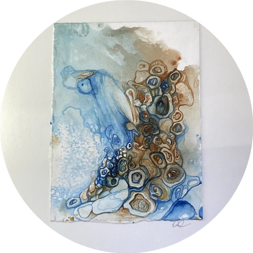 Elaine Camlin - External Structures, framed mono print and watercolour on BFK Rives
