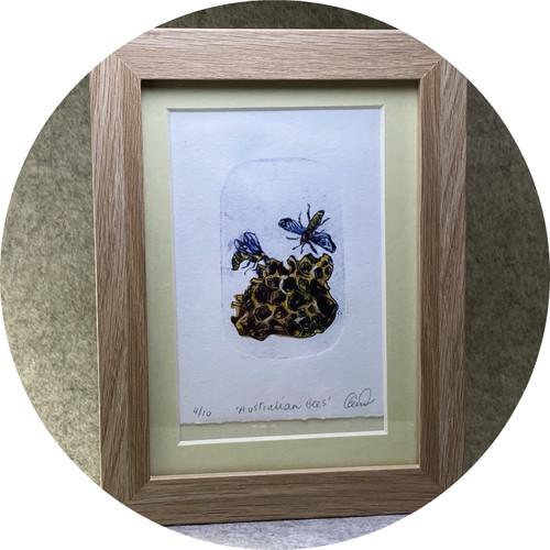 Elaine Camlin - Australian Bees, framed Unique State drypoint and watercolour on BFK Rives