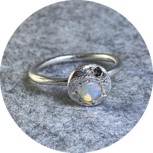 Ada Hodgson - Sunrise ring, sterling silver, opal, smokey quartz