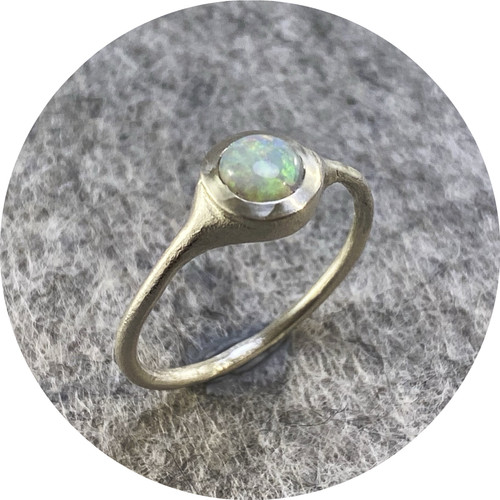 Ada Hodgson- Grandfather's Opal ring, sterling silver and cabochon opal.