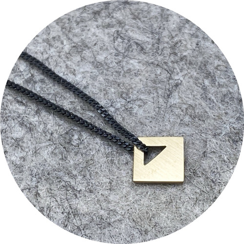 Cass Partington - Small Tab Pendant, 18ct yellow gold, sterling silver