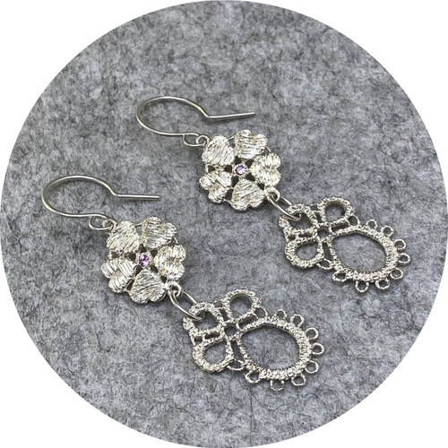 Pamela Camille - Derry  Rose/Derry Lace earrings, sterling silver, pink sapphire
