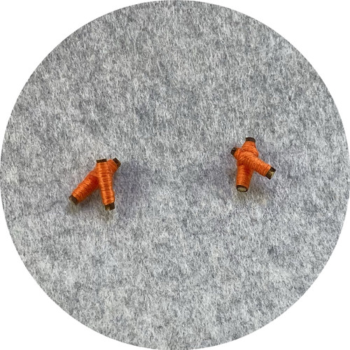 Melissa Gillespie - 'Wrapped Orange Twig Studs' made from wood, cotton and sterling silver