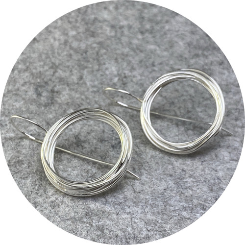Melissa Gillespie - Coiled Hook Earrings (large), sterling silver