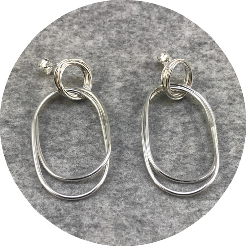 Melissa Gillespie - 'Coiled Dangle Earrings', sterling silver