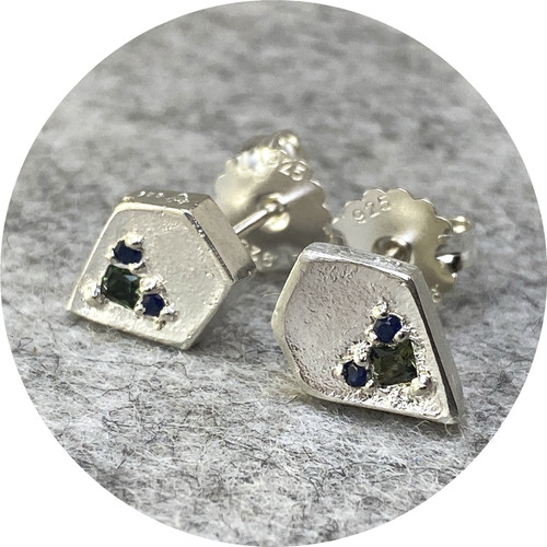 Kirra-Lea Caynes - Sand cast five sided studs, 925 silver, sapphires