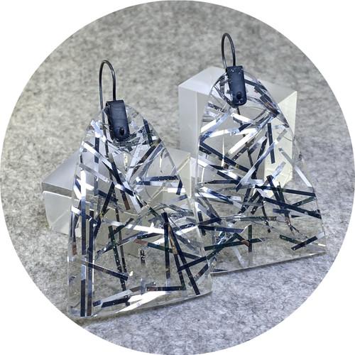 ELC Studio - Large Resin/Tinsel Earrings, resin, sterling silver, tinsel.