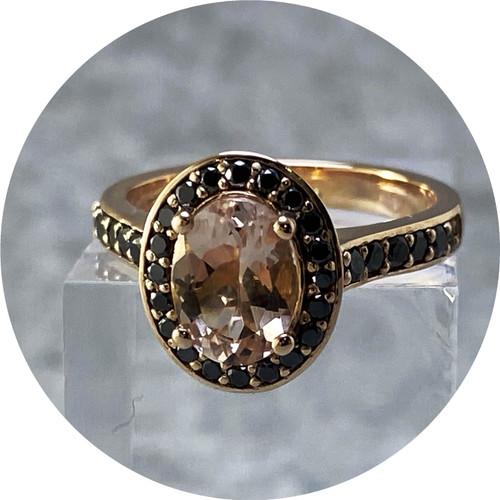 Orion Joel - Morganite and Black Diamond Halo Ring, 9ct rose gold, diamonds, morganite, size K1/2