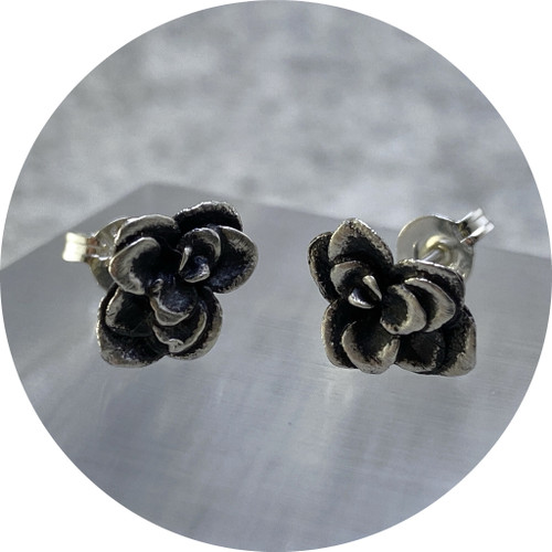 """Emma Kidson - Succulent studs """"The Flat Ones"""" (oxidised), sterling silver"""