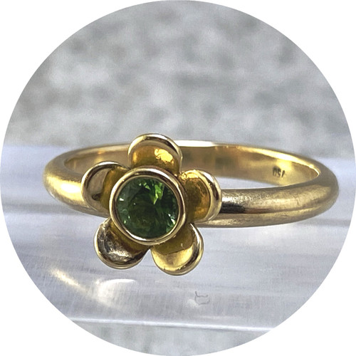 Emma Kidson - Blossom Ring in Yellow and Green, 18ct yellow gold, 18ct green gold, tourmaline
