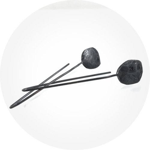 Ashleigh Moore - Oxidised Silver Cosmos Earrings with Blue Sapphires (small)