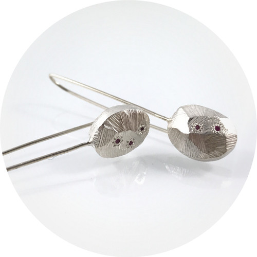 Ashleigh Moore - Silver Cosmos Earrings with Pink Sapphires (small)