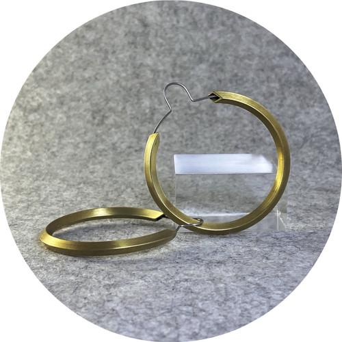 Kristina Neumann - 'Matte Gold Plated Original Hoops', brass, stainless steel, yellow gold plate