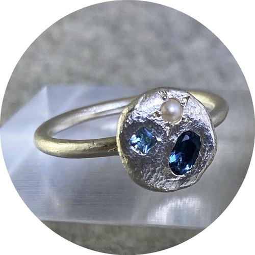 Ada Hodgson - Sunrise Ring, sterling silver, topaz, London blue topaz, pearl