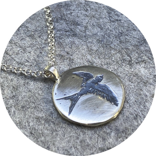 Claire Taylor - Bird circle pendant, sterling silver