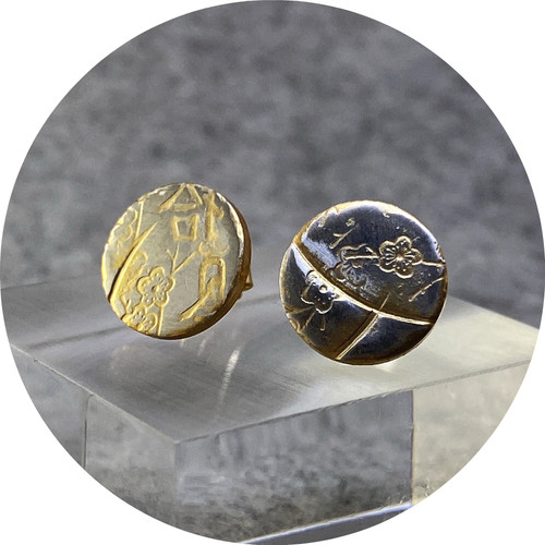 Claire Taylor - Yellow blossom studs, sterling silver, gold plate