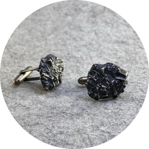 Amelie Atelier - 'Pyrite  cufflinks' sterling silver.