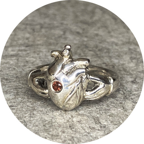 ANT HAT - Heart Claddagh Ring, sterling silver, spinel