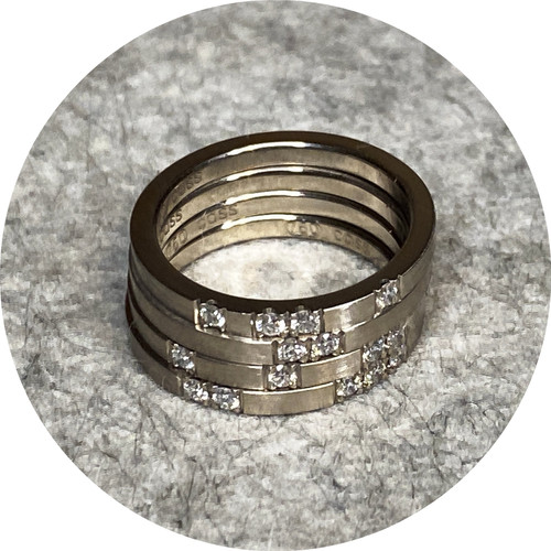 Cass Partington - Roma Ring - 4 stack, 18ct white gold, diamonds, size O