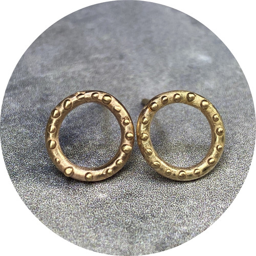 Katie Shanahan - Gold Circle and Dot Earrings, 9ct yellow gold