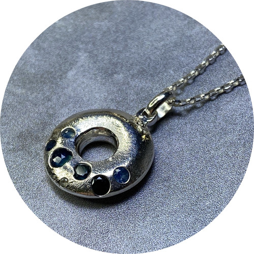 Kirra-Lea Caynes - Sterling Silver Ring Pendant with Cast-In-Place Sapphires,