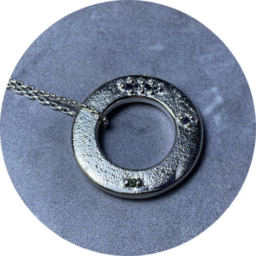Kirra-Lea Caynes - Sterling Silver Cutout Disk Pendant with Cast-In-Place Sapphires, sterling silver, Australian sapphires