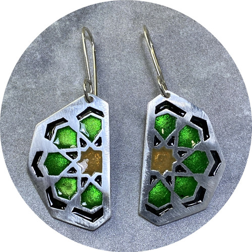 Claire Taylor- Islamic motif enamelled earrings. Fine and sterling silver.