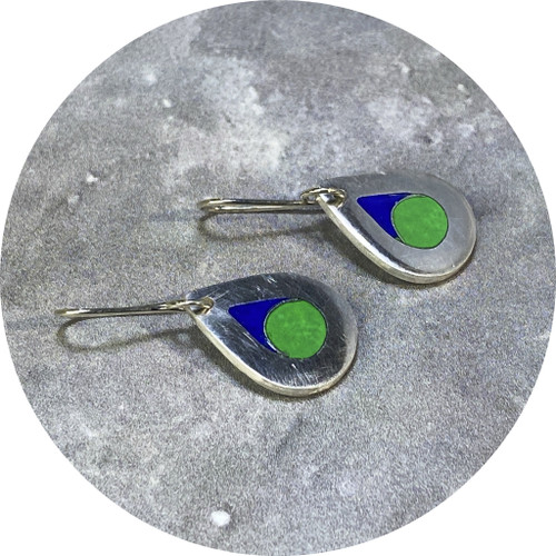 Claire Taylor- Solid drop cloisonné enamel earrings. blue and green.