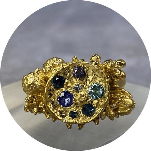 Manuela Igreja - Ocean Bushy Cluster Ring, sterling silver, gold plate, zircon, sapphires, spinel, tanzanite
