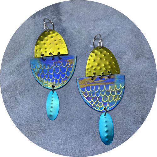Amanda Croatto - Rooftop Sunset Earrings, anodised titanium, stainless steel, sterling silver