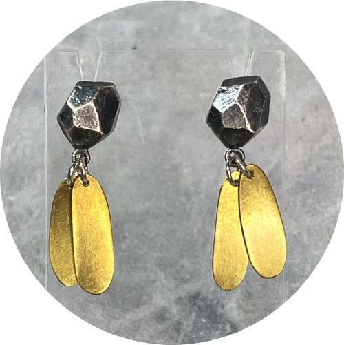 Dannielle Kathleen- Pebble And Golden Leaf earrings, Sterling Silver and Brass