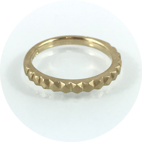 Eli Speaks- Mexicali Ring. 2mm band, 18ct yellow gold, matte finish. Size K.