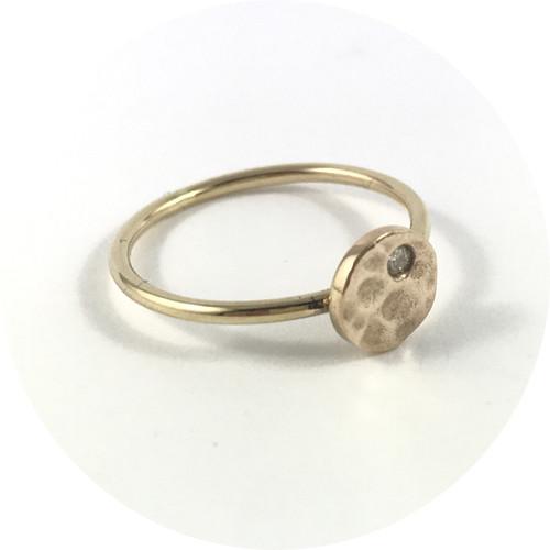 Aimee Sutanto- Winter Lake circle ring. 9ct yellow gold & diamond. size N1/2