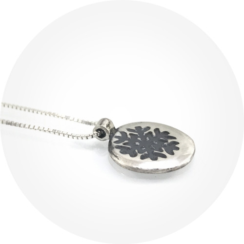 Claire Taylor - Oxidised Snowflake Pendant Necklace